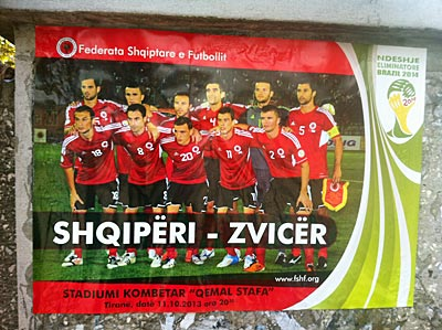 Ad for the game in Tirana's streets