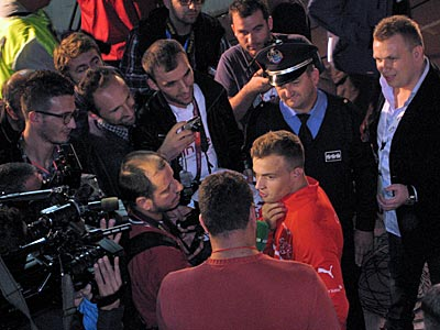 After the game: players with Albanian roots are surrounded by local media