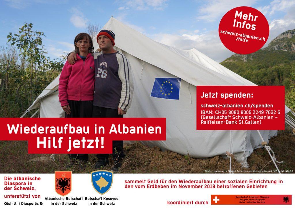 Spende für Wiederaufbau nach Erdbeben in Albanien
