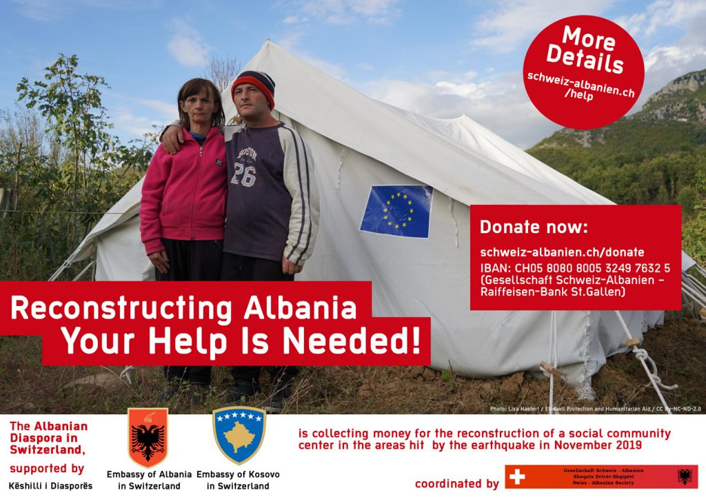 Donate for reconstruction after earthquake in Albania