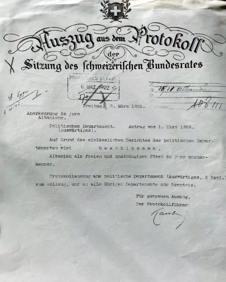 Bundesrat: Anerkennung Albaniens durch die Schweiz 1922